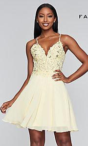 Image of v-neck Faviana homecoming dress with lace-up back. Style: FA-10151 Front Image