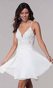Image of v-neck Faviana homecoming dress with lace-up back. Style: FA-10151 Detail Image 3