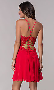 Image of v-neck Faviana homecoming dress with lace-up back. Style: FA-10151 Back Image