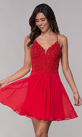 V-Neck Faviana Homecoming Dress with Lace-Up Back