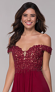 Image of off-the-shoulder Faviana short homecoming dress. Style: FA-10155 Detail Image 1