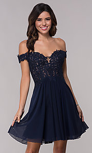 Image of off-the-shoulder Faviana short homecoming dress. Style: FA-10155 Detail Image 2