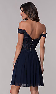 Image of off-the-shoulder Faviana short homecoming dress. Style: FA-10155 Detail Image 3