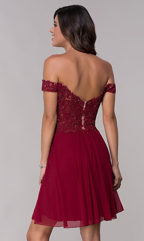 Image of off-the-shoulder Faviana short homecoming dress. Style: FA-10155 Back Image