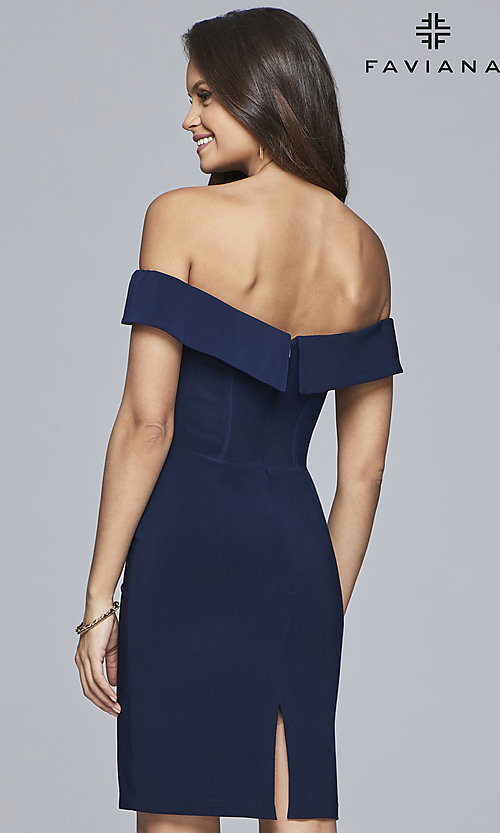 Image of Faviana short navy blue homecoming party dress. Style: FA-S10162 Back Image