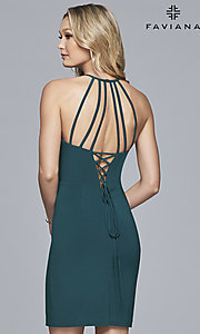 Image of short Faviana high-neck party dress with open back. Style: FA-S10166 Detail Image 4