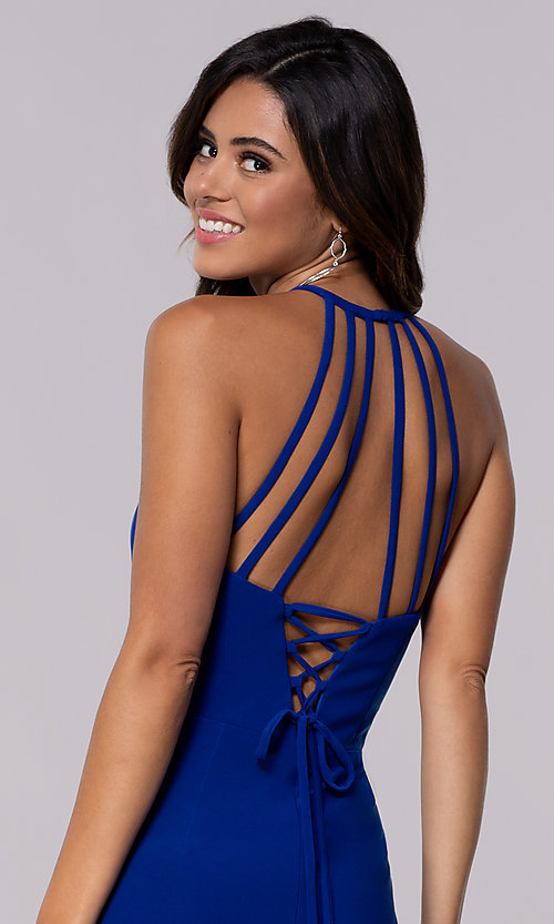 Image of short Faviana high-neck party dress with open back. Style: FA-S10166 Detail Image 1