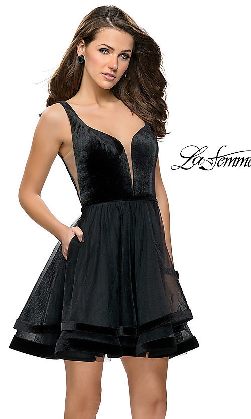 Image of short open-back tulle La Femme homecoming dress. Style: LF-26701 Front Image