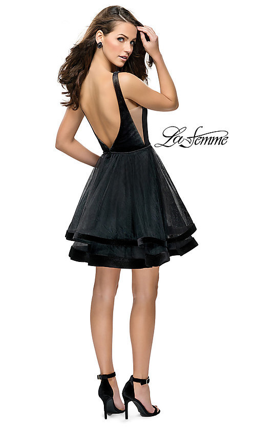 Image of short open-back tulle La Femme homecoming dress. Style: LF-26701 Detail Image 2