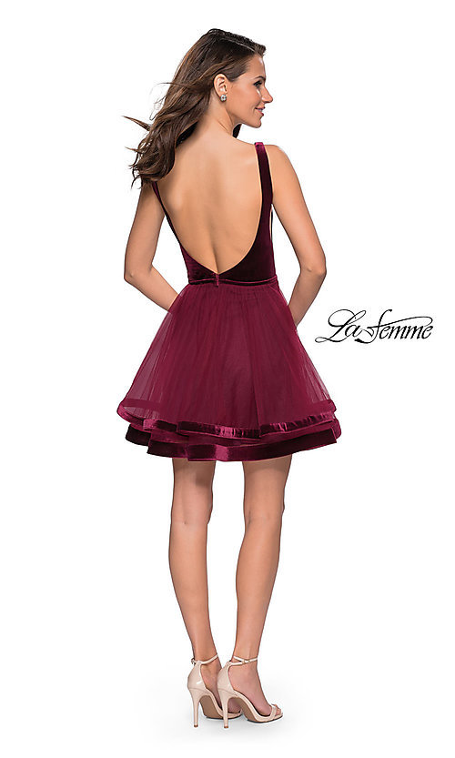 Image of short open-back tulle La Femme homecoming dress. Style: LF-26701 Detail Image 5