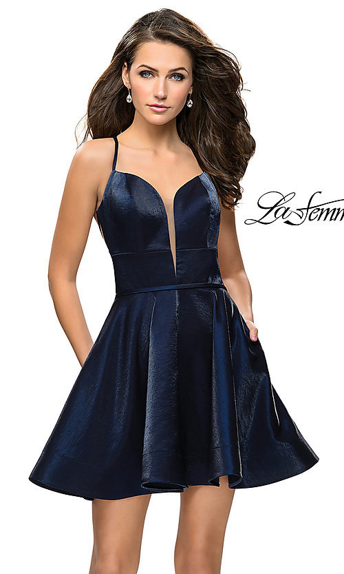 Image of La Femme open-back satin homecoming dress. Style: LF-26659 Back Image