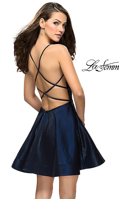 Image of La Femme open-back satin homecoming dress. Style: LF-26659 Front Image