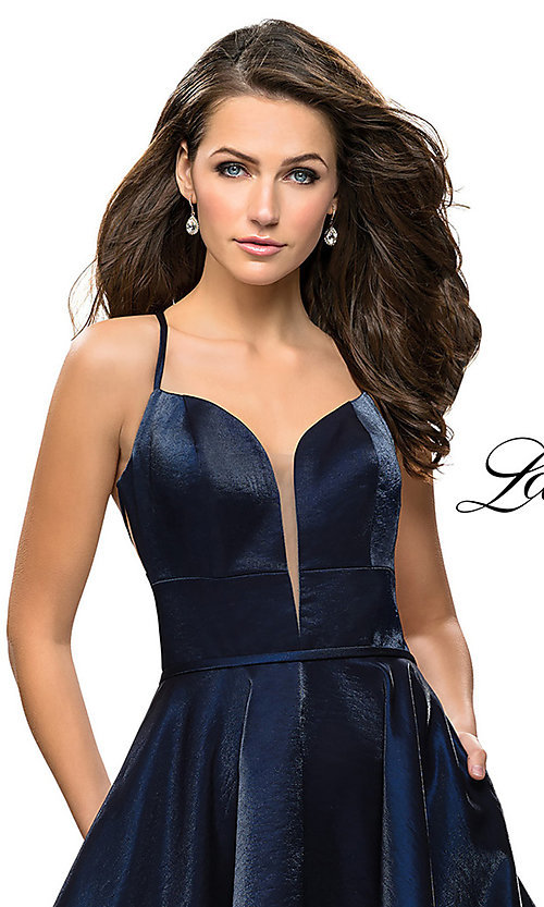 Image of La Femme open-back satin homecoming dress. Style: LF-26659 Detail Image 1