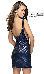 Image of sheer-side La Femme short sequin homecoming dress. Style: LF-26614 Back Image