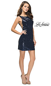 Image of sheer-side La Femme short sequin homecoming dress. Style: LF-26614 Detail Image 2