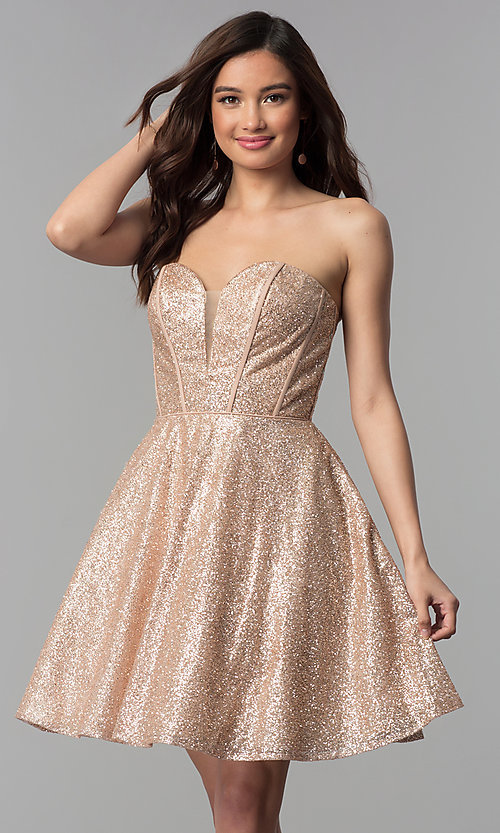 37ccb6077e6 Image of short sweetheart rose gold glitter homecoming dress. Style  NC-507  Front