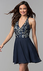 Image of short embroidered-bodice chiffon homecoming dress. Style: NC-215 Detail Image 1