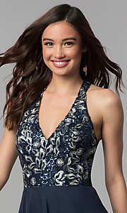 Image of short embroidered-bodice chiffon homecoming dress. Style: NC-215 Detail Image 2