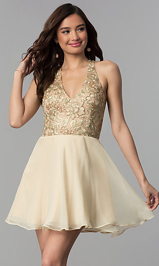 Short Embroidered-Bodice Chiffon Homecoming Dress
