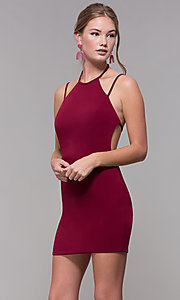 Image of high-neck short homecoming dress. Style: NC-214 Back Image