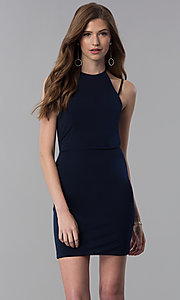 Image of high-neck short homecoming dress. Style: NC-214 Detail Image 3