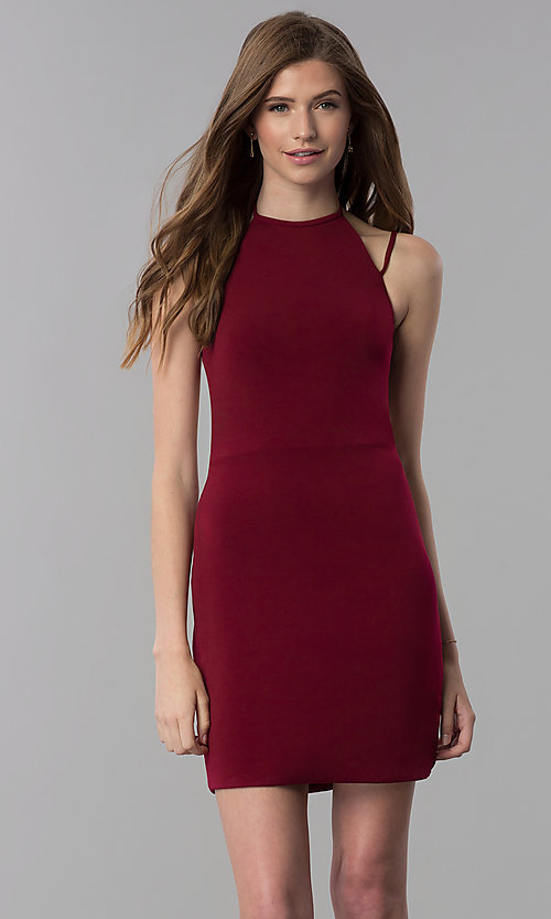 Image of high-neck short homecoming dress. Style: NC-214 Front Image