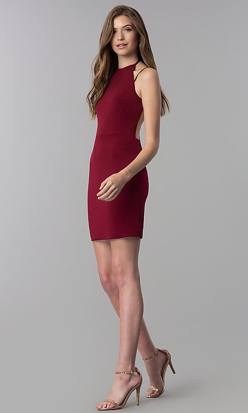Image of high-neck short homecoming dress. Style: NC-214 Detail Image 2
