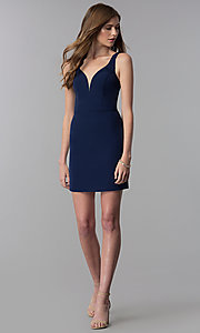 Image of navy blue short decolletage-v-neck homecoming dress. Style: NC-502 Detail Image 3
