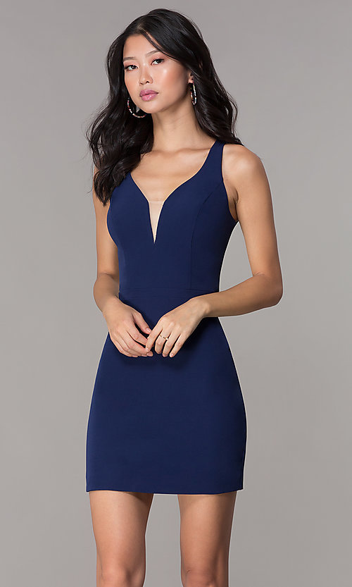 Image of navy blue short decolletage-v-neck homecoming dress. Style: NC-502 Front Image