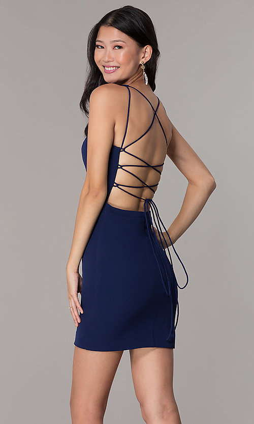 Image of navy blue short decolletage-v-neck homecoming dress. Style: NC-502 Back Image