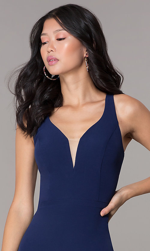 Image of navy blue short decolletage-v-neck homecoming dress. Style: NC-502 Detail Image 1