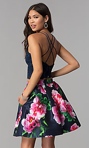 Image of two-piece homecoming short dress with print skirt. Style: MCR-2401 Back Image