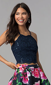 Image of two-piece homecoming short dress with print skirt. Style: MCR-2401 Detail Image 1