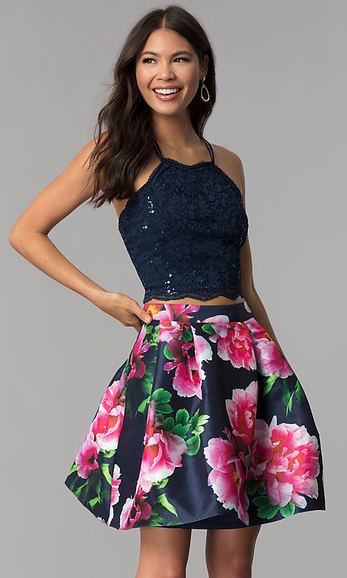 Image of two-piece homecoming short dress with print skirt. Style: MCR-2401 Front Image