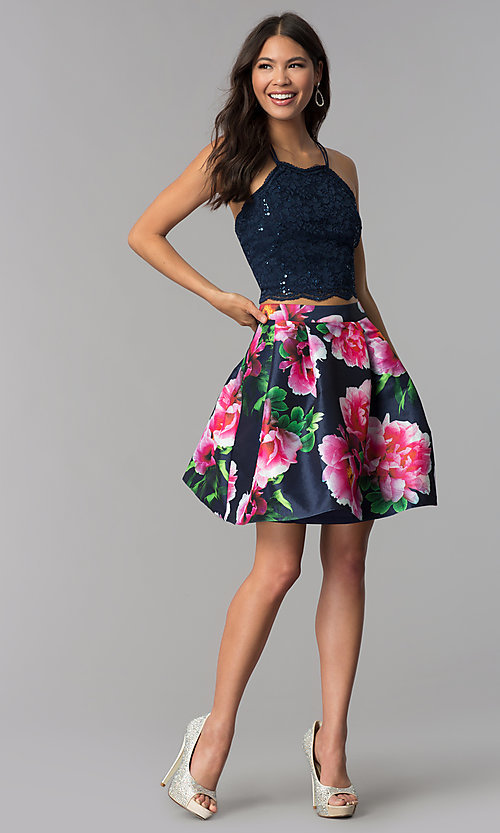 Image of two-piece homecoming short dress with print skirt. Style: MCR-2401 Detail Image 2