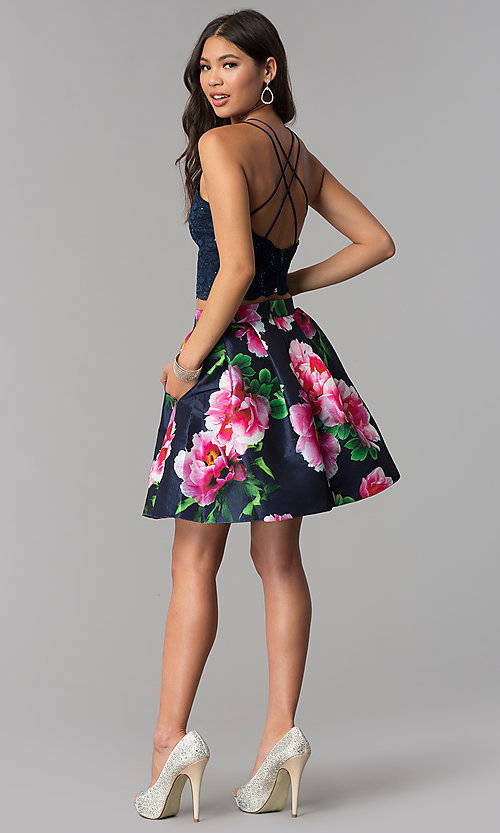 Image of two-piece homecoming short dress with print skirt. Style: MCR-2401 Detail Image 3