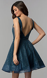 Image of sequin-mesh short v-neck homecoming party dress. Style: CLA-3627 Back Image