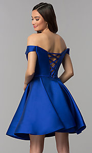 Image of corset-back off-the-shoulder short homecoming dress. Style: CLA-S3442 Back Image