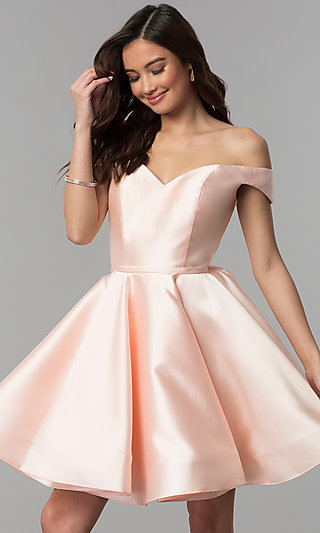 Corset-Back Off-the-Shoulder Short Homecoming Dress