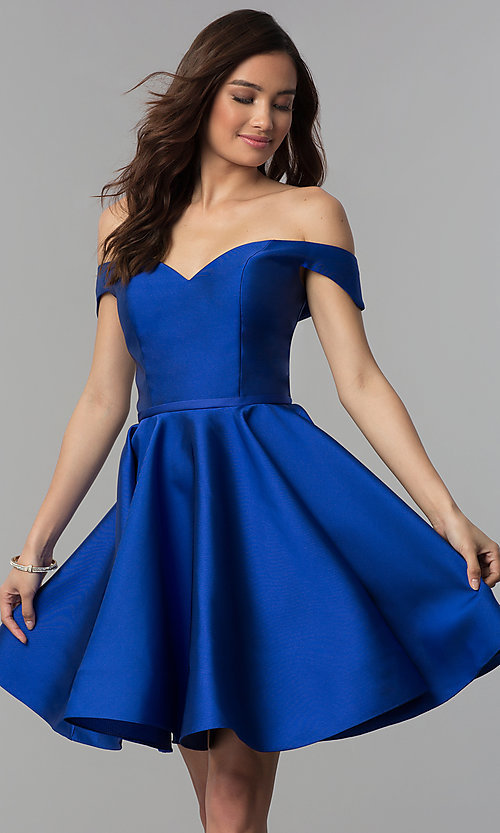Image of corset-back off-the-shoulder short homecoming dress. Style: CLA-S3442 Front Image