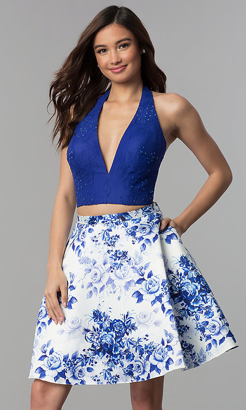 Image of floral-print homecoming two-piece halter dress. Style: CLA-3637 Front Image