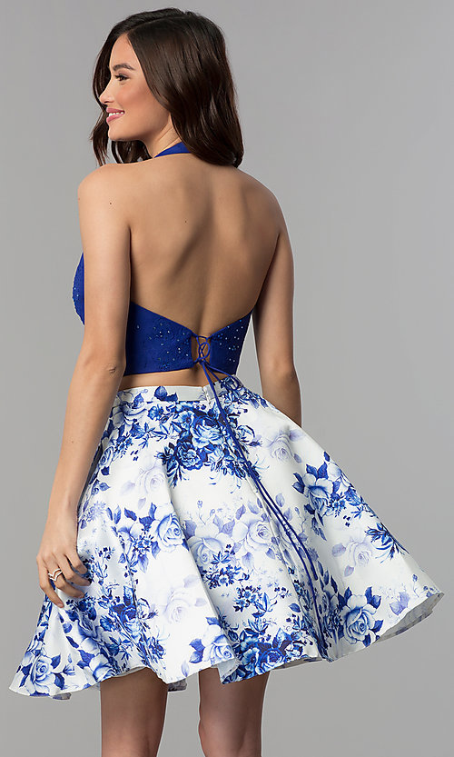 Image of floral-print homecoming two-piece halter dress. Style: CLA-3637 Back Image