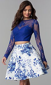 Image of floral-print two-piece long-sleeve homecoming dress. Style: CLA-3638 Front Image