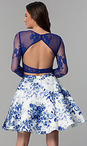 Image of floral-print two-piece long-sleeve homecoming dress. Style: CLA-3638 Back Image