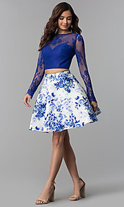 Image of floral-print two-piece long-sleeve homecoming dress. Style: CLA-3638 Detail Image 3