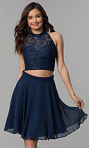 Image of two-piece lace-top short chiffon homecoming dress.  Style: CLA-S3427 Detail Image 1