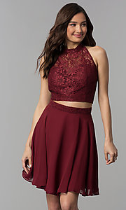 Image of two-piece lace-top short chiffon homecoming dress.  Style: CLA-S3427 Detail Image 3