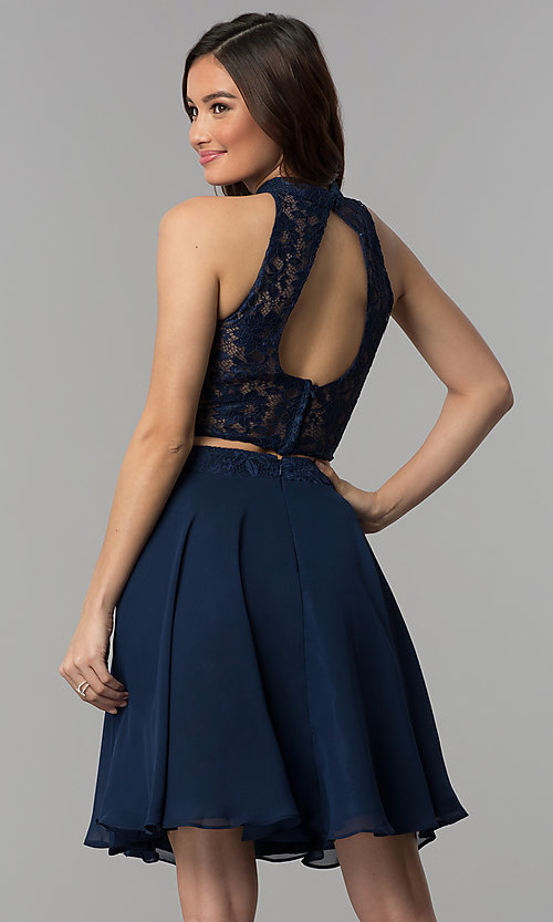 Image of two-piece lace-top short chiffon homecoming dress.  Style: CLA-S3427 Back Image