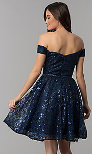 Image of off-the-shoulder navy sequin short homecoming dress. Style: CLA-3345 Back Image