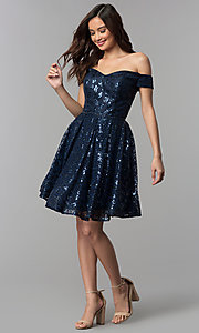 Image of off-the-shoulder navy sequin short homecoming dress. Style: CLA-3345 Detail Image 3